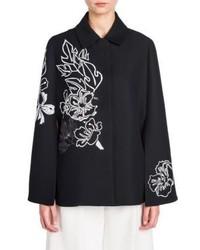 Fendi Sequin Embroidered Wool Silk Cape Jacket