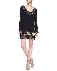 Black Embroidered Casual Dress