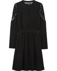 ALICE by Temperley Dawn Embroidered Tulle Paneled Crepe Dress