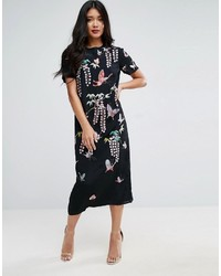 Butterfly embroidered tshirt midi dress medium 3764582