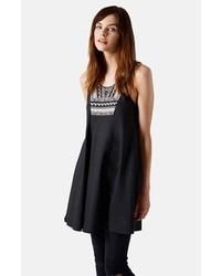 Topshop Embroidered Bib Dress