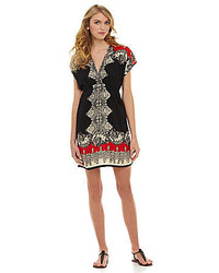V neck printed boho peasant dress medium 446867