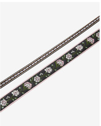 Express Set Of Two Embroidered Floral Ribbon Choker Necklaces