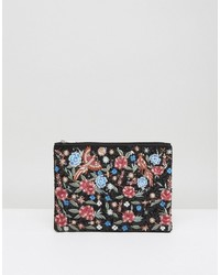 Boohoo Floral Bird Embroidered Clutch