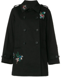 RED Valentino Floral Embroidery Double Breasted Coat