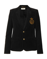 Saint Laurent Appliqud Cotton Corduroy Blazer