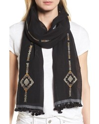 Eileen Fisher Embroidered Oraganic Cotton Scarf