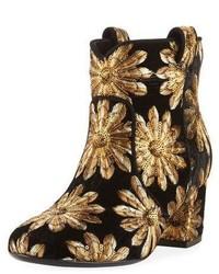 Laurence Dacade Belen Metallic Embroidered Velvet Western Bootie