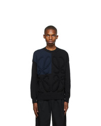 Loewe Black And Navy Embroidered Anagram Sweater