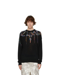 Marcelo Burlon County of Milan Black Embroidered Wings Sweater