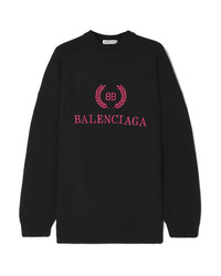 Balenciaga Embroidered Wool And Cashmere Blend Sweatshirt