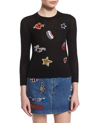 Marc Jacobs Long Sleeve Embroidered Patch Sweater Black