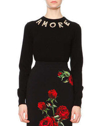 Dolce & Gabbana Pearlescent Amore Applique Sweater