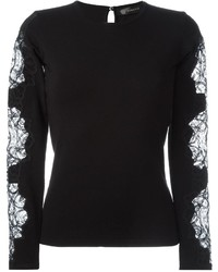 Versace Embroidered Lace Detail Top