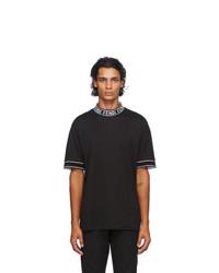 Fendi Black Logo Collar T Shirt