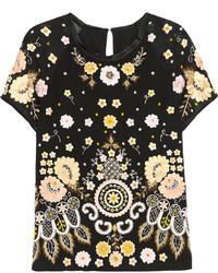 Embellished embroidered crepe top black medium 442686
