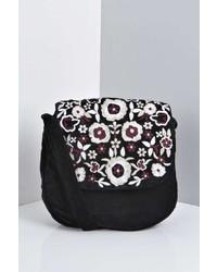 Boohoo Daisy Velvet Embroidered Cross Body Bag