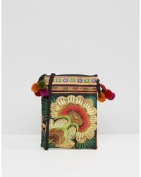 Reclaimed Vintage Inspired Embroidered Pom Detail Cross Body Bag