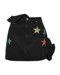 Valentino Embellished Ruffled Denim Mini Skirt
