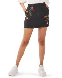 Topshop Moto Embroidered Denim Miniskirt