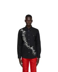 Alexander McQueen Black Embroidered Denim Shirt