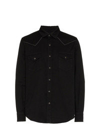 Saint Laurent Slim Fit Embroidered Cotton Twill Western Shirt
