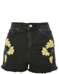 Topshop Moto Embroidered Mom Shorts