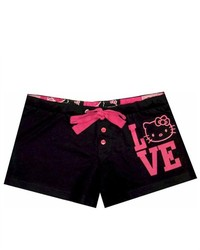 WebUndies Hello Kitty Love Embroidered Black Sleep Shorts