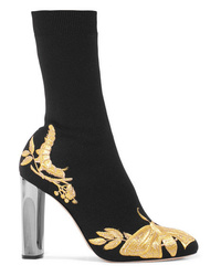 Alexander McQueen Embroidered Stretch Knit Sock Boots
