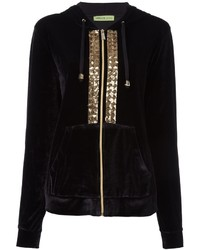Versace Jeans Sequin Embroidered Velour Hoodie