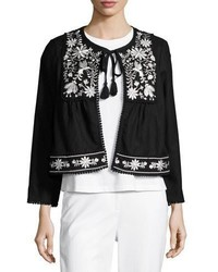 Kate Spade New York Embroidered Boxy Open Front Jacket Black