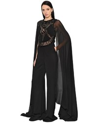 Elie Saab Embroidered Cady Georgette Jumpsuit