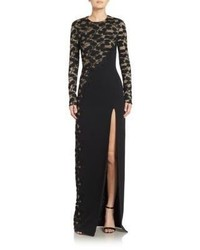 Black Embroidered Lace Evening Dress