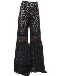 Alberta Ferretti Embroidered Poplin Macram Lace Pants