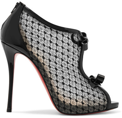 innovative design 07ceb 0cf1e $1,095, Christian Louboutin Empiralta 120 Bow Embellished Embroidered Mesh  Sandals Black