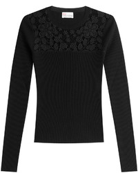 RED Valentino Pullover With Embroidered Lace Panel