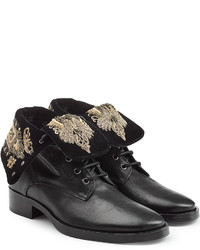 Black Embroidered Leather Ankle Boots