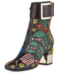 Roger Vivier Podium Flower Embroidered Bootie