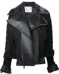 Black Embroidered Leather Biker Jacket