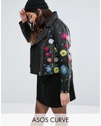 Asos Curve Curve Floral Embroidered Leather Biker Jacket
