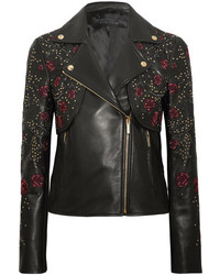 Elie Saab Embroidered Leather Biker Jacket Black