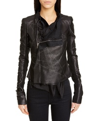 Rick Owens Embroidered Leather Biker Jacket