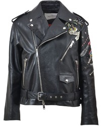 Valentino Embroidered Leather Jacket