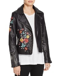 Molly Bracken Floral Embroidered Faux Leather Biker Jacket