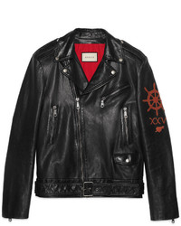 Gucci Leather Biker Jacket With Sea Creature Appliqu