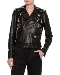 Valentino Pop Flower Embroidered Leather Moto Jacket