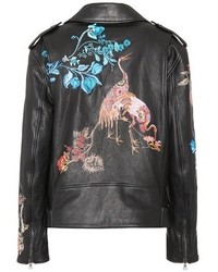Etro Printed And Embroidered Leather Biker Jacket