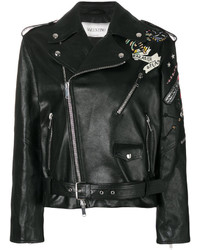 Valentino Tattoo Embroidered Biker Jacket