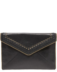 Black Embroidered Leather Clutch