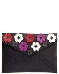 Rebecca Minkoff Leo Floral Applique Envelope Clutch Black